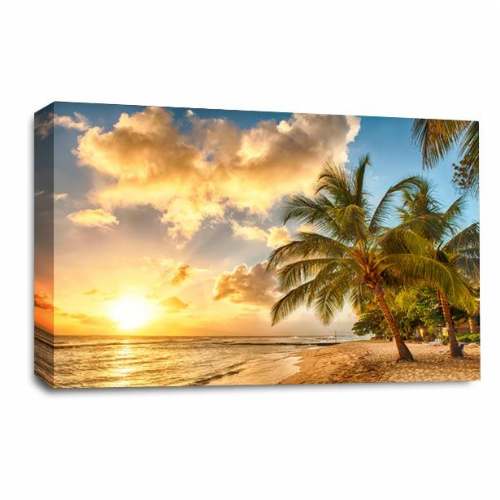 Tropical Sunset Wall Art Picture Beach Sand Palm Trees Print